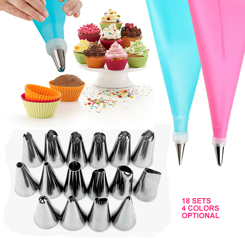 18Pcs/Set Silicone Pastry Bag Tips Kitchen DIY 16 Icing Piping Nozzle Cream Reusable Pastry Bags Cake Decor Bakeware Tools image