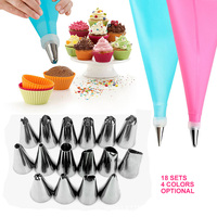 18Pcs/Set Silicone Pastry Bag Tips Kitchen DIY 16 Icing Piping Nozzle Cream Reusable Pastry Bags Cake Decor Bakeware Tools