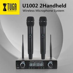 SP U1002 UHF Professional Dual Wireless Microphone System 2 Channel 2 Handheld Karaoke Microphone kit For Wedding, Evening Party