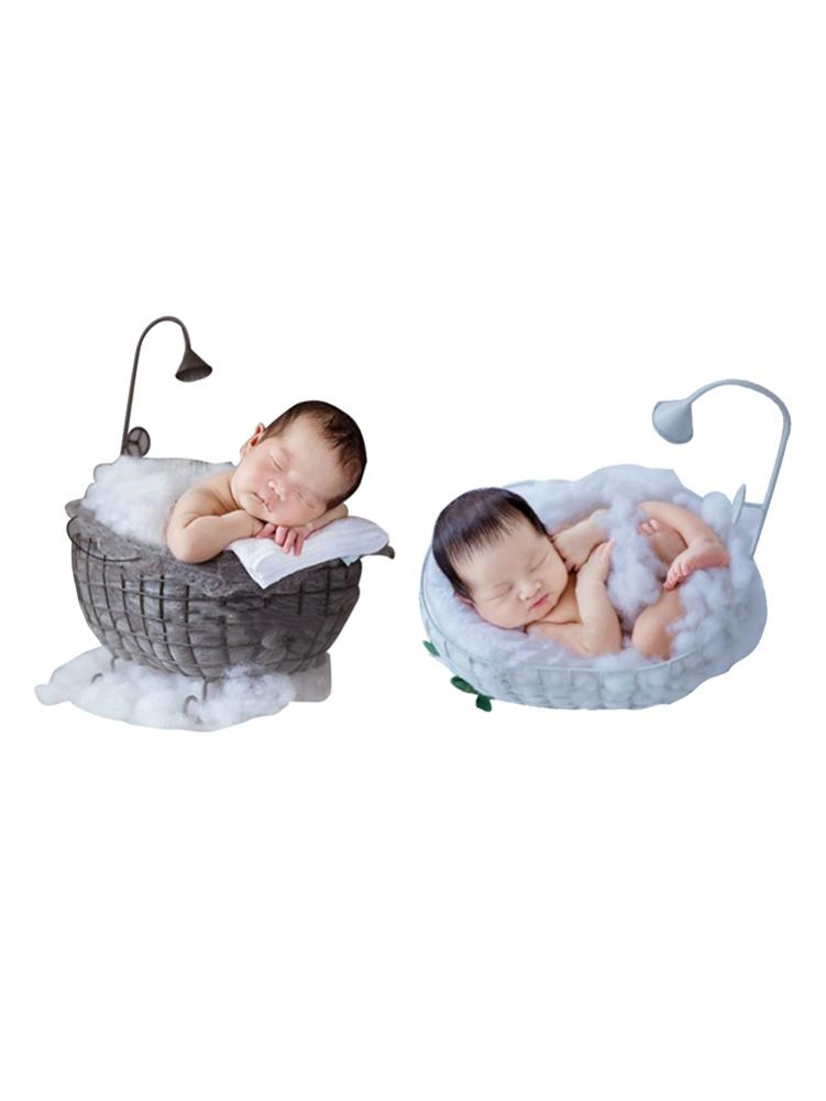 Gift Infant Basket Sofa Crib Photo Shoot Wood Bed Baby Photography Accessories Posing Detachable Studio Props Background Newborn