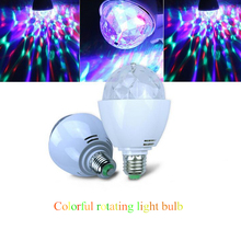 Portable 3W RGB LED Lamps E27 Led Bulb Lighting Auto Rotating Stage Lights Projector for Party Bar KTV Disco Show