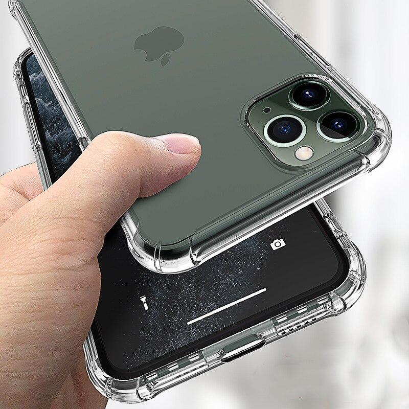 Funda transparente de silicona blanda a prueba de golpes para iPhone 12 11 Pro Max X XR XS 8 7 6 6S Plus SE 2020 funda protectora de silicona 360