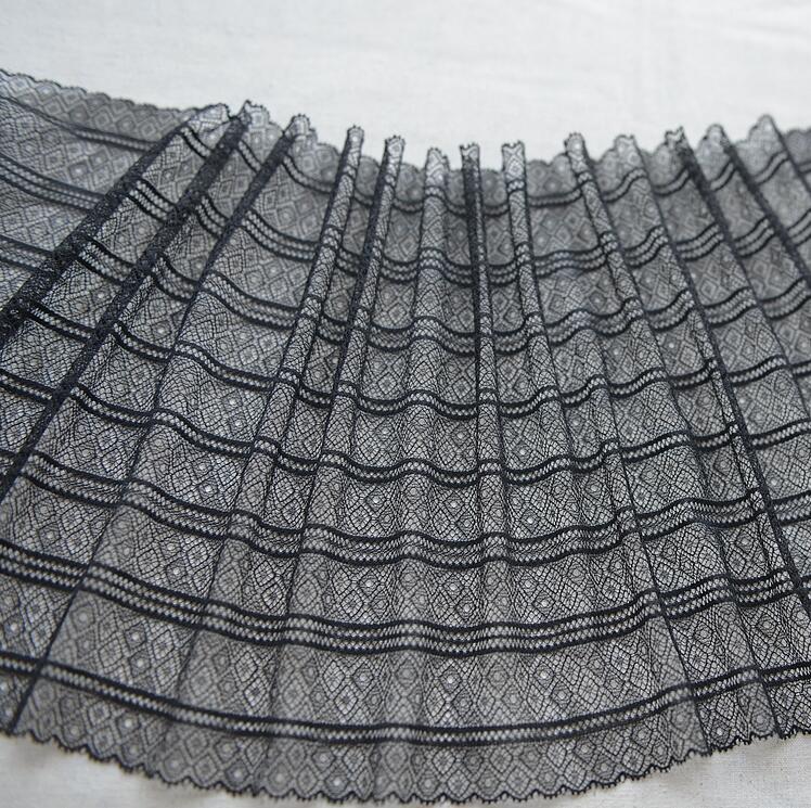 1 метр, украшение для волос, широкая черная эластичная кружевная отделка, вышитое свадебное платье, кружевная отделка, 22 см Ширина