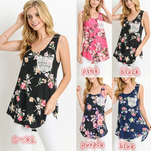 купить Sleeveless Top Women Floral Printed Women Tank Top Summer 2019 Woman Clothes Plus Size по цене 1046.66 рублей