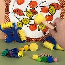 Sponge Seal Brush Spongy Brush Drum Brush Round Mushroom Head Sponge Painting Brush Card Rubbing Picture Set Material Package