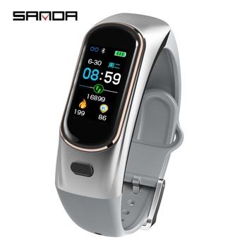 SANDA H109 Smart Watch Headset Mens Bluetooth Wireless Earphone Women Blood Pressure Heart Rate Monitor Smartwatch Band Bracelet