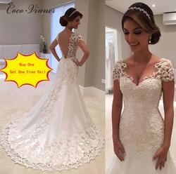 Illusion Vestido De Noiva White Backless Lace Mermaid Wedding Dresses 2019 Cap Sleeve Wedding Dress Vintage wedding Dress W0200