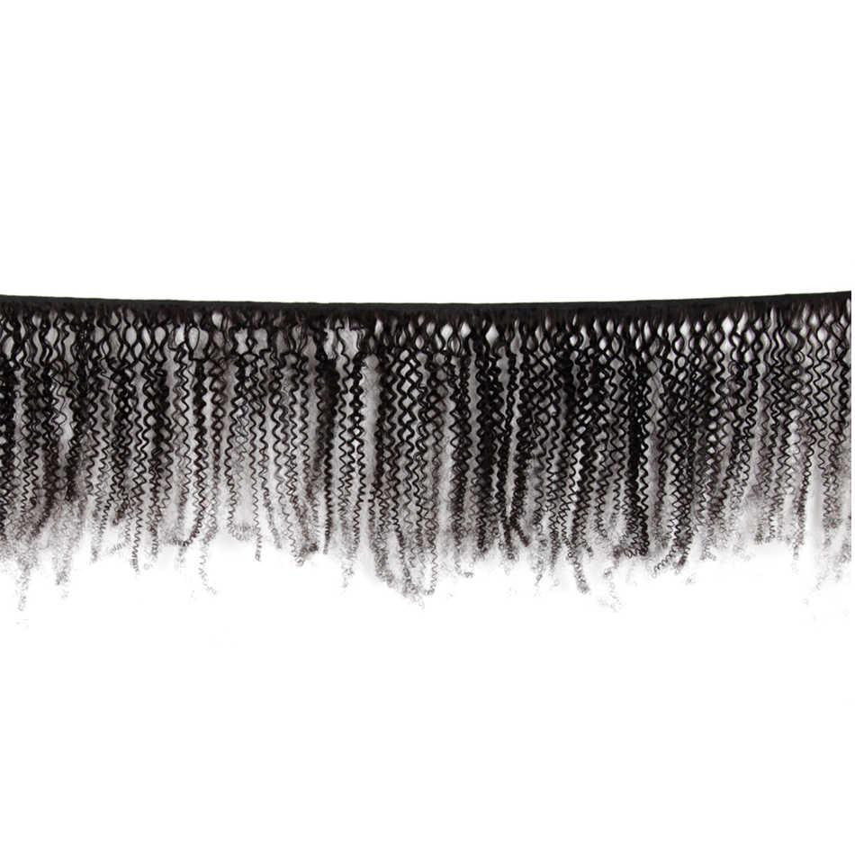 Mongol Afro rizado pelo tejido 3/4 paquetes 100% Natural negro Remy cabello humano paquetes extensión sin enredos doble trama