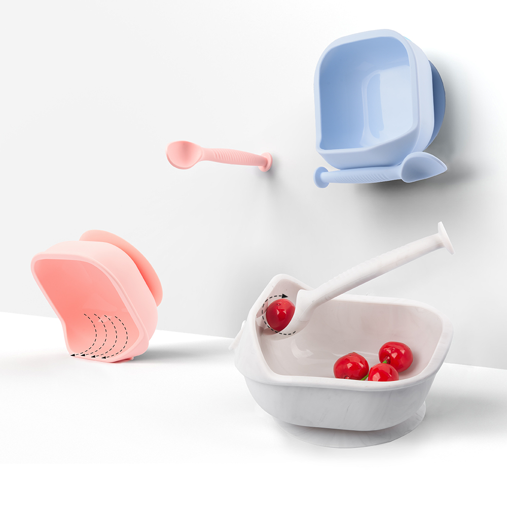 LOFCA 1set Baby Silicone Feeding Bowl Food grade Spill-Proof Suction Rotating Bowl Learning Dishes Tableware Children Plate