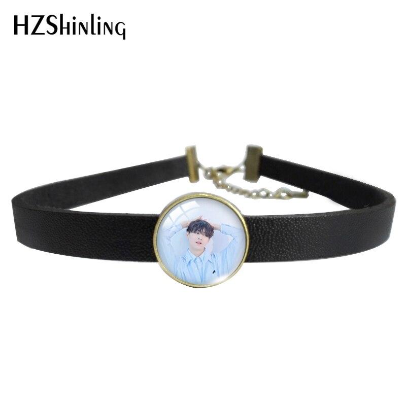 HZSHINLING Kpop male Group Got7 Best Gifts Leather Choker  Glass 14mm Pendants  Jewelry