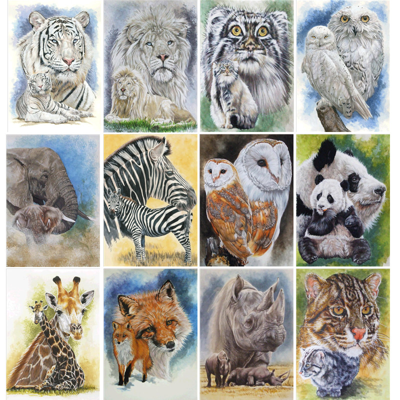 Diy 5d diamond painting animal full round diamond mosaic home decoration embroidery pattern embroidery handmade new year gift in Diamond Painting Cross Stitch from Home Garden