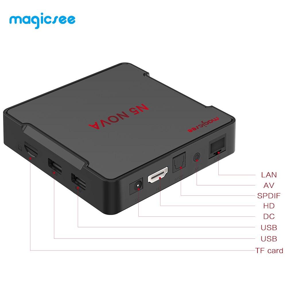 MAGICSEE N5 NOVA Android 9.0 BOÎTE de télévision RK3318 4 GO RAM 64 GO ROM 2.4GHz + WiFi 5GHz Commande Vocale Intelligente Décodeur 4K Bluetooth USB3.0 - 4