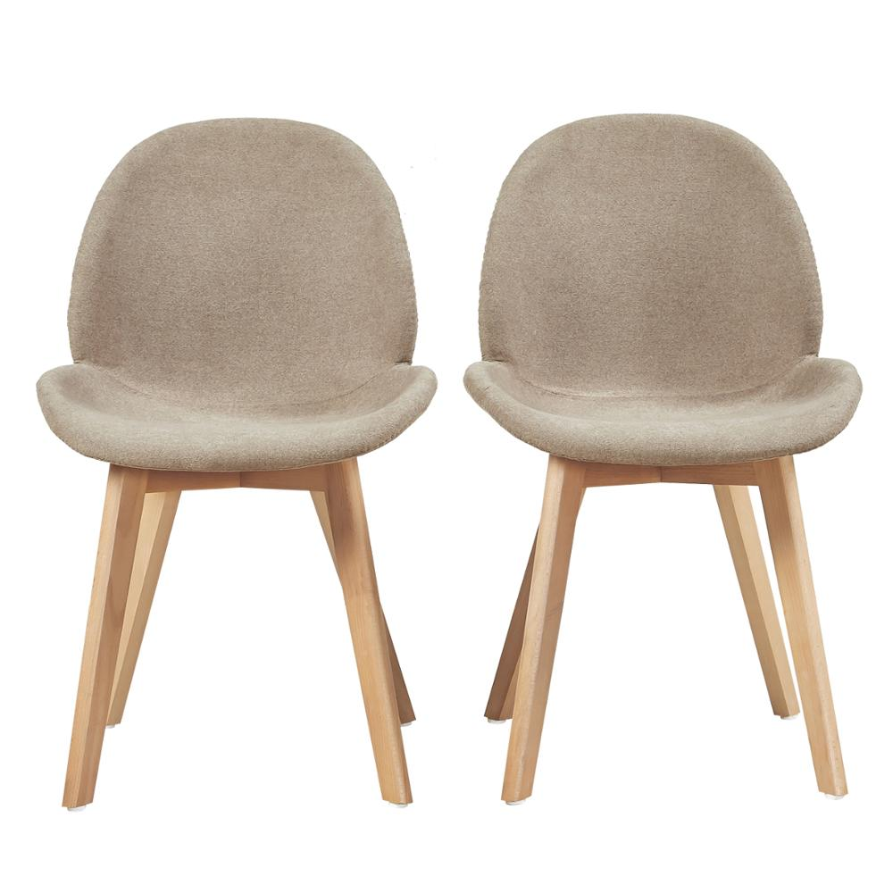 EGGREE Set Of 2pcs Cherry Fabric Dining Chair With Beech Wood Legs For Dining Room And Bedroom - Grey - 2-8days EU Warehouse