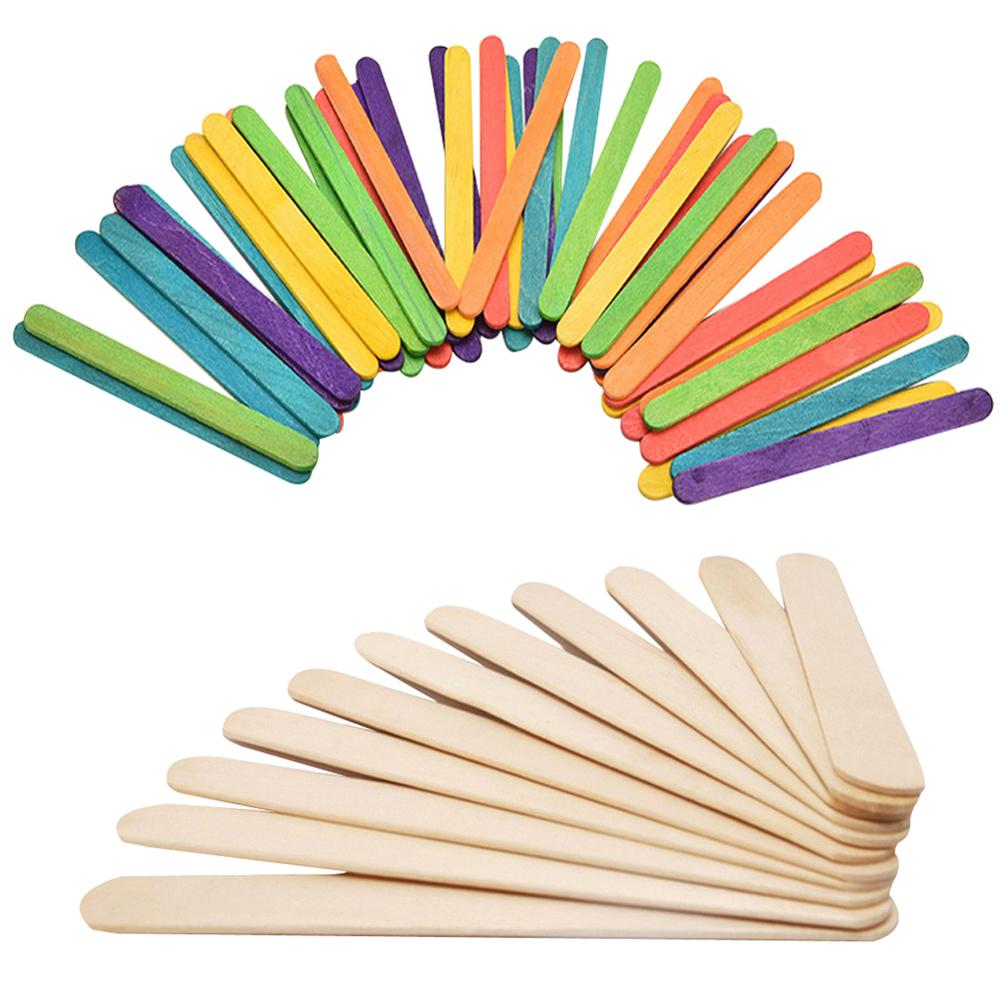 50Pcs/Lot Colored rice white Wooden Popsicle Sticks Natural Wood Ice Cream Sticks Kids DIY Hand Crafts Ice Cream Lolly Cake Tool image