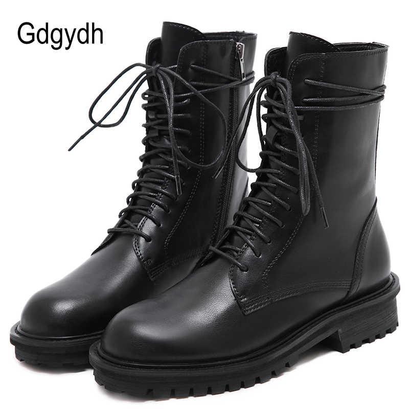 Gdgydh dantel-up Kadın Motosiklet Botları Vintage Kış Ayakkabı Kadın Su Geçirmez Orta Topuk Ayak Bileği Kayışı PU Kadın Botları fermuar Yeni