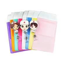 Cute Cartoon Retractable Work Name Tags ID Badge with PVC Leak-Proof Pen Pouch Office Supplies Doctors Nurses