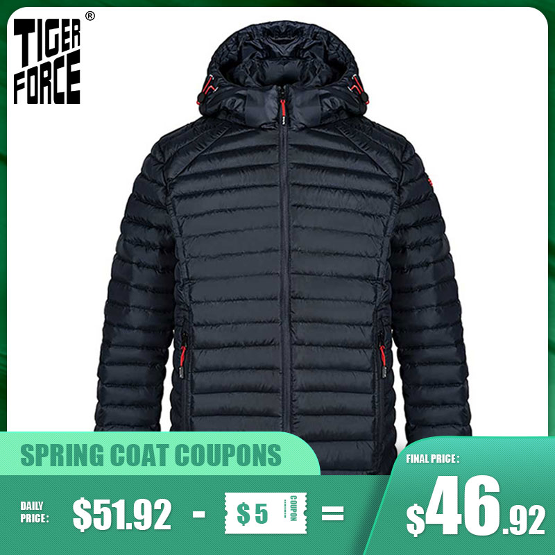 TIGER FORCE 2021 New Men's Spring Jacket Top Brand High Quality Dark gray Casual Warm Outdoor Zipper Men Parkas Windproof 50628