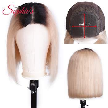 Sophie's 4*4 Lace Front Bob Human Hair Wigs T1B/613 Pre-Plucked Brazilian Straight Lace Frontal wigs 150% Density Remy wig 8-14 image