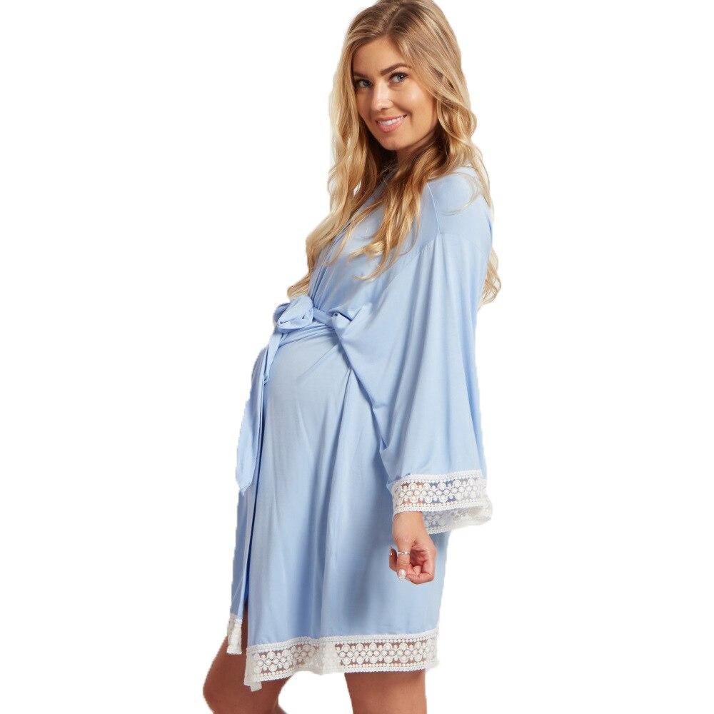 cor solida vestido de maternidade rendas costura 04