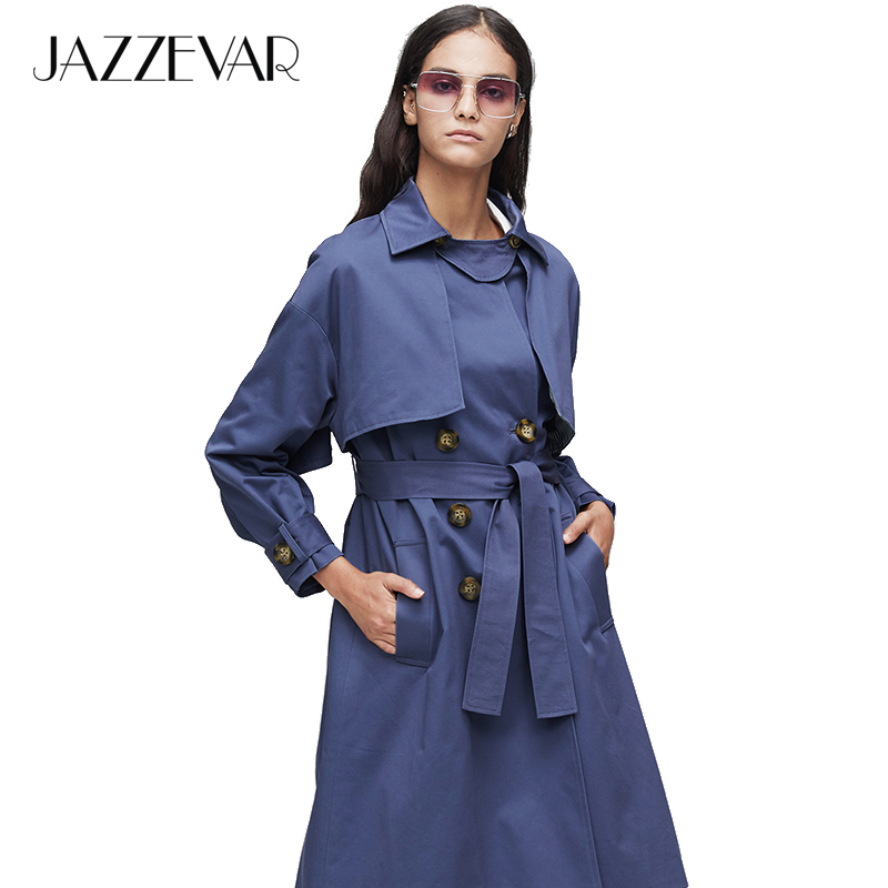 JAZZEVAR 2019 New Arrival Autumn Khaki Trench Coat Women Casual Long Outerwear High Quality Cotton With Belt Fashion Women9009-1