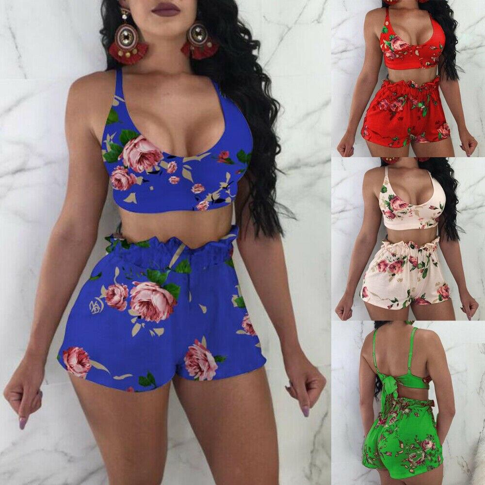 2020 Summer Floral Ruffle Women Bikini Set Swimwear Push-up Halter Bra and Ruffle Loose Beach Shorts Femme Swimsuit Beachwear 1
