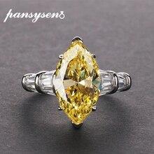 PANSYSEN 8*14mm סיטרין חן טבעות לנשים אמיתי 925 כסף סטרלינג תכשיטי מסיבת יום נישואים טבעת נשי מתנה