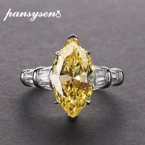 Image 1 - PANSYSEN 8*14mm Natural Citrine Gemstone Rings For Women Real 925 Sterling Silver Jewelry Party Anniversary Ring Female Gift