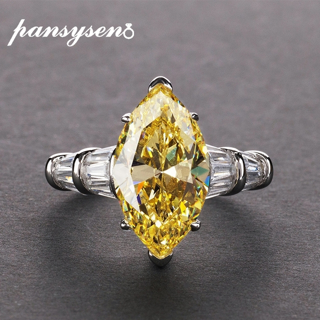 PANSYSEN 8*14mm Natural Citrine Gemstone Rings For Women Real 925 Sterling Silver Jewelry Party Anniversary Ring Female Gift