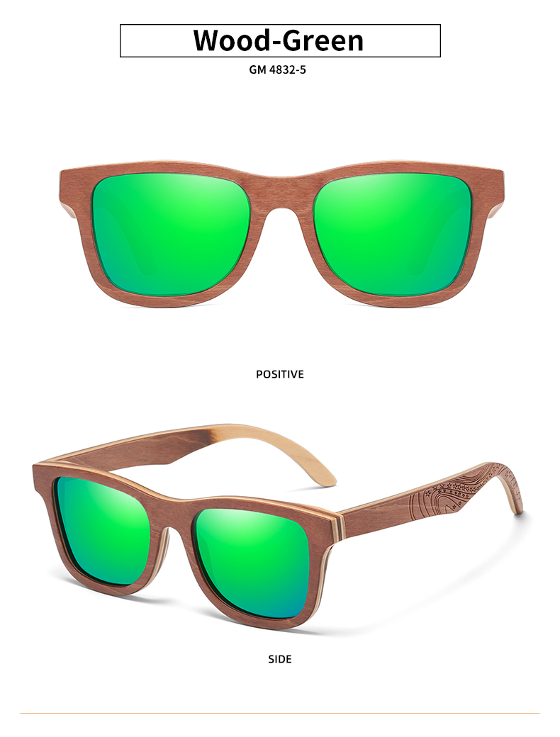 GM Handmade Layered Natural Wood Polarized Sunglasses