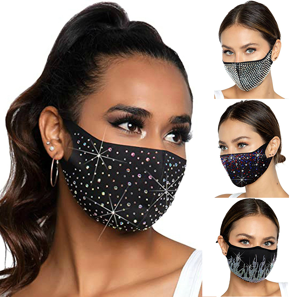 Sparkly-Mask Face-Mask-Decoration Rhinestones Elastic Washable Fashion Masks