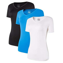 Jeansian 3 חבילת נשים Slim מהיר יבש Fit לנשימה קצר שרוול חולצה טי חולצה Tshirts ריצה כושר אימון SWT240 חבילה