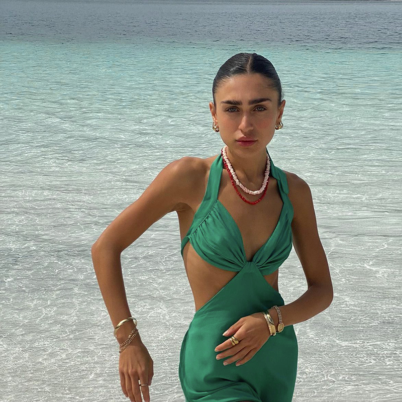 Hugcitar 2021 Sleeveless V-Neck Halter Bandage Sexy Slit Mini Dress Summer Women Fashion Streetwear Party Vacation Clothing 1
