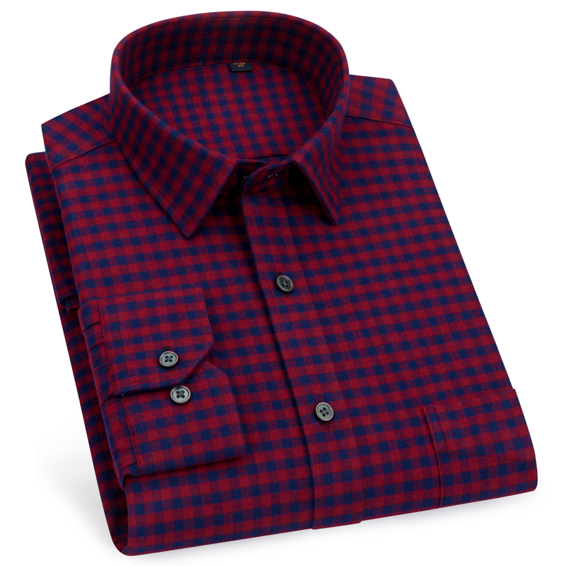 Men's Standard-fit Long-Sleeve Pattern Pocket Brushed Shirt Premium 100% Cotton Button Closure Casual Checkered Plaid Shirts