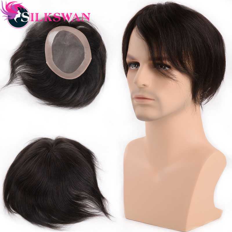 Silkswan Human Hair Durable Swiss Lace & PU Toupee Replacement System For Men Toupees Human Hair Natural Color Remy Hair