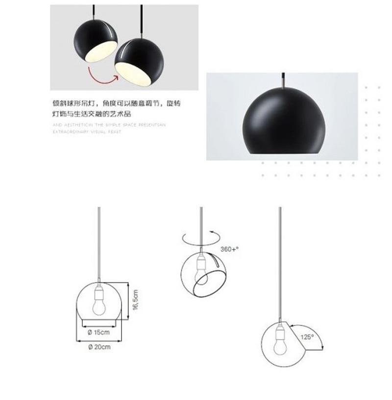 Hemisfério rotativo nórdico luzes pingente moderno restaurante