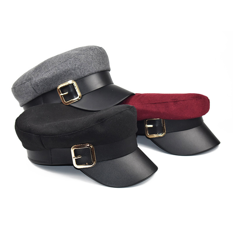 Women Black Military Hats Beret Autumn Winter Fashion Wool Pu Leather Patchwork Newsboy Flat Top Caps With Belt Female Gorras