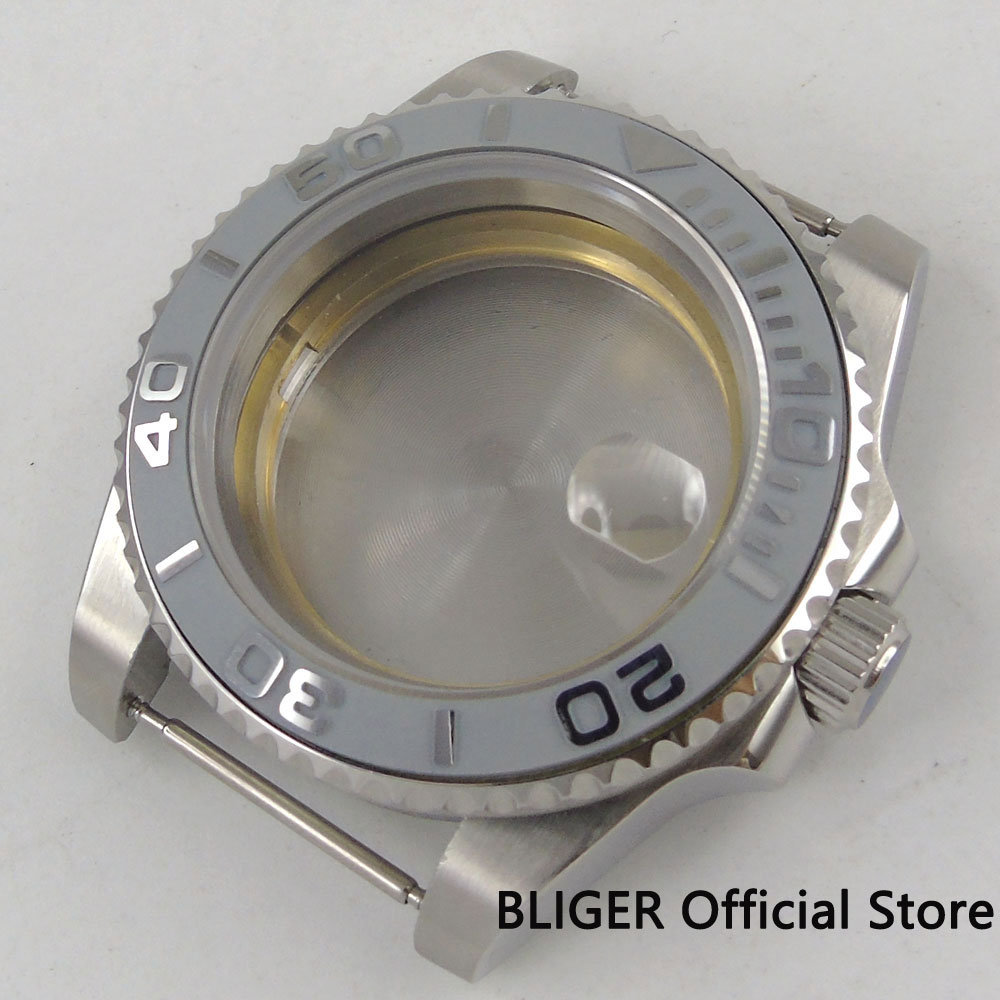 40mm Sapphire Glass Ceramic Bezel 316L Stainless Steel Watch Case Fit Miyota 8215 ETA 2836 Movement