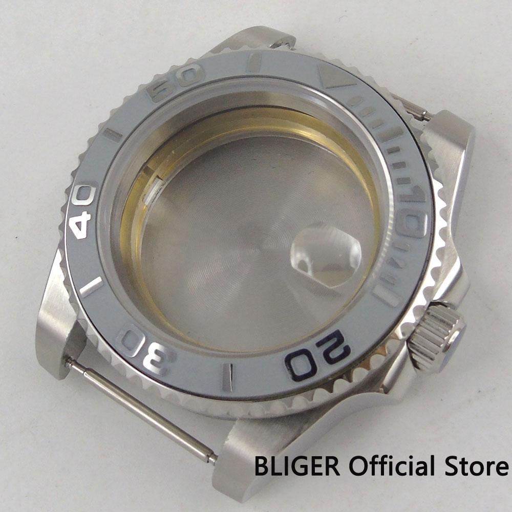 40mm Sapphire Glass Ceramic Bezel 316L Stainless Steel Watch Case Fit Miyota 8215 ETA 2836 Movement