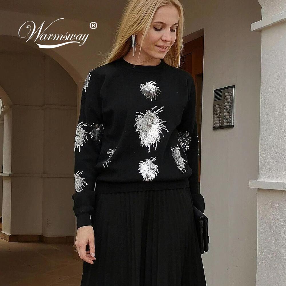 New Year Women Christmas Sweater Knitwear Shiny Beaded Classic High-end Viscose Blend Sweater Women Rock Girl C-497