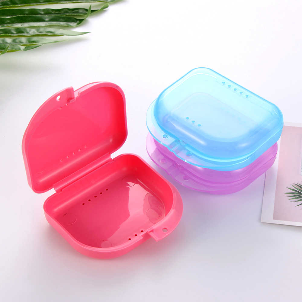 8 Colors Fake Teeth Orthodontic Case Dental Retainer Mouth Guard Denture Storage Plastic Box Oral Hygiene Supplies Organizer