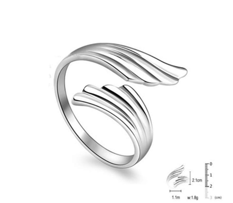 a PISSENLIT Simple Adjustable Silver Ring Wing Ring Women Jewelry New Korean Trendy Wing Wedding Rings For Women Accessories Gifts