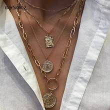 IngeSight.Z 3 Pçs/lote Multi Camadas Colar Colar Gargantilha De Ouro Virgem Maria Cor Esculpido Coin Pingente Colares para As Mulheres Jóias