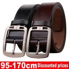 Cinturón de piel de ternero para hombre, cinturón de negocios de lujo con hebilla de Pin, estilo Retro, vaqueros, talla grande de 170 cm, Envío Gratis