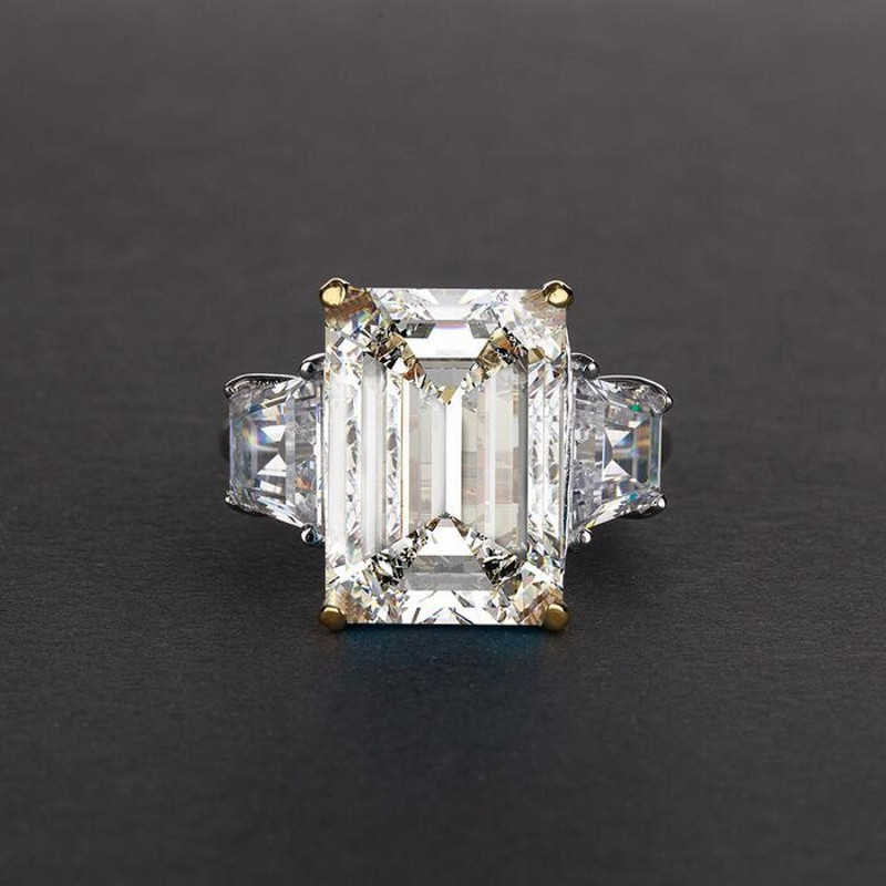 Choucong bijoux fins 100% vrais 925 bagues en argent Sterling pour femmes Emerld cut 6ct Sona Diamon cz bague de fiançailles de mariage