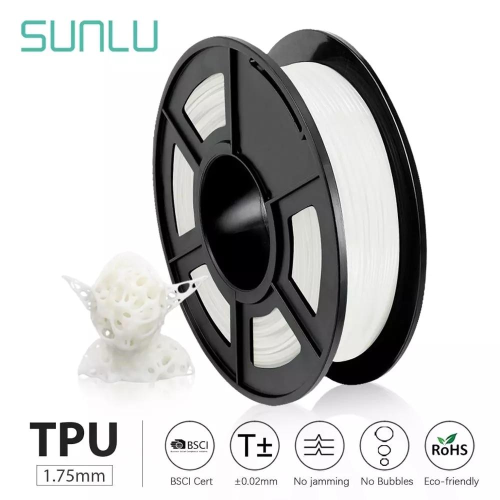 SUNLU ТПУ 3D Принтер Нити Гибкая нить 1,75 мм 0,5 кг/рулон 95A Твердость по Шору хорошо для печати детской обуви и игрушек