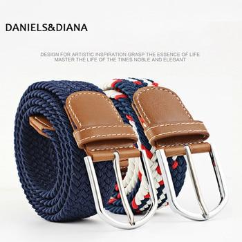 60 colors Men/Women canvas pin buckle belts Casual elastic waistband  Braided belt