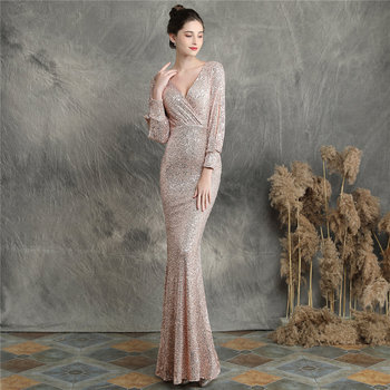 Sequins Women Party Dress DX240-6 2019 New Plus Size Mermaid Prom Dress Robe De Soiree Apricot Silver Long Sleeves Evening Dress 5