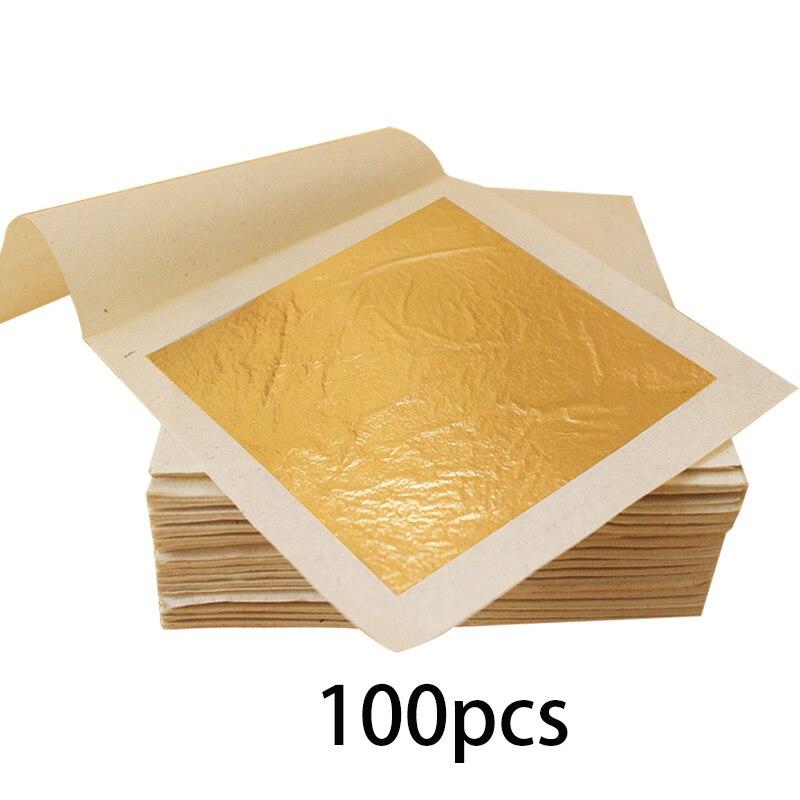 Hoja de oro puro papel de oro comestible para decoración de pastel máscara Facial 100 piezas 9,33x9,33 cm arte dorado hojas de oro Real de 24K-in Papel para artesanías from Hogar y Mascotas    1