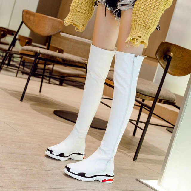 Wayneflex cuissardes extensibles baskets longues bottes de pluie femmes plate-forme sans lacet hiver nouveauté chaussures femmes