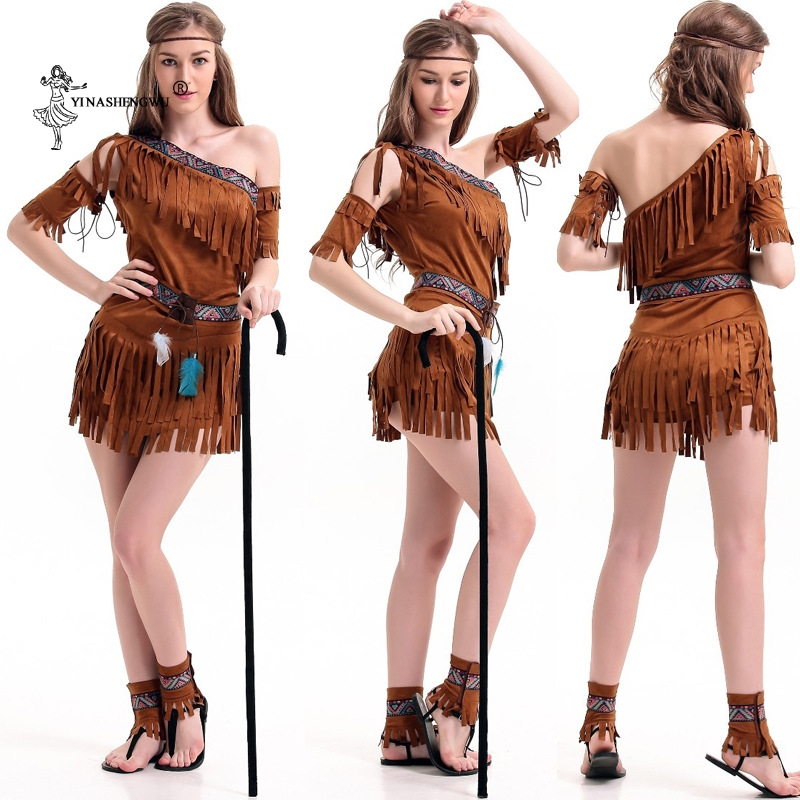 Cosplay Costume Halloween Indian Tribal Dance Dress Women Native Indians Princess Of Tribe Stage Performance Tassel Girl Costume